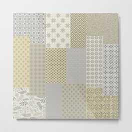 Modern Farmhouse Patchwork Quilt in Gray Marigold and Oatmeal Metal Print