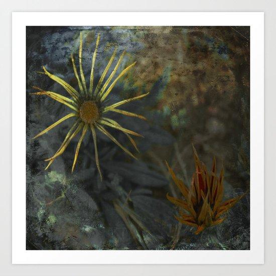Abstract Flowers on my way - Flores abstractas en mi camino Art Print