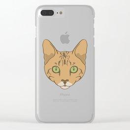 Bengal Cat Head Cartoon Clear iPhone Case