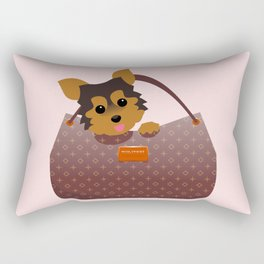 Yorkie in a purse Rectangular Pillow