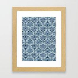 Floral Motif Sashiko Style Japanese Needlework Indigo Framed Art Print