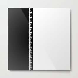 Greek Key 2 - White and Black Metal Print
