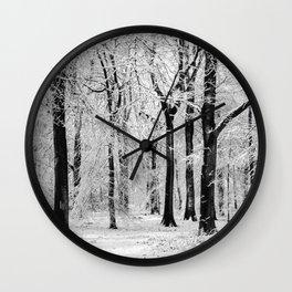 Snowy Beech Trees Wall Clock