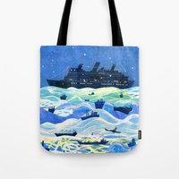 ships Tote Bags featuring Ships by Victoria Antolini