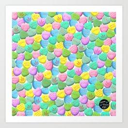 Cannabis Candy Hearts Art Print