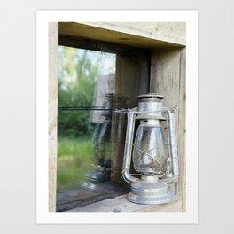 lamp outside cabin Art Print