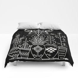 Santa Fe Garden – White Ink on Black Comforters