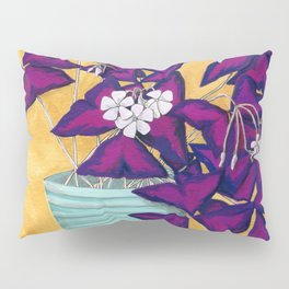Purple Shamrock Houseplant Painting Pillow Sham