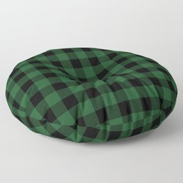 Jumbo Forest Green and Black Rustic Cowboy Cabin Buffalo Check Floor Pillow