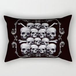 Skulls and Filigree - Black and White Rectangular Pillow