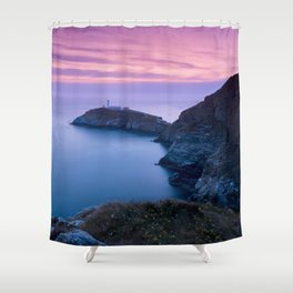 South Stack Lighthouse Sunset, Angelsey, Wales Shower Curtain