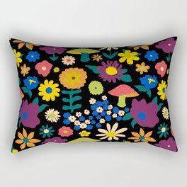 60's Country Mushroom Floral in Black Rectangular Pillow