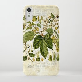 Common Hop Botanical Print on Vintage almanac collage iPhone Case