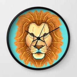 Modern pixel lion head on cyan background Wall Clock