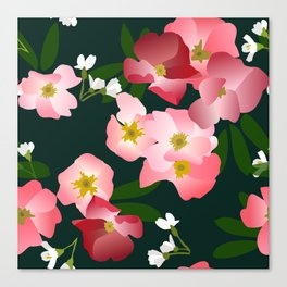Pink Roses and Cherry Blossoms Canvas Print