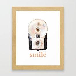 Retro Watercolor Camera SMILE! Framed Art Print