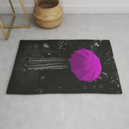 Girl in the rain with a pink umbrella black and white photograph / art photography Rug