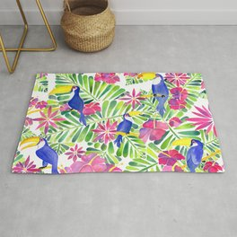Tropical Toucans Watercolor Painting Rug