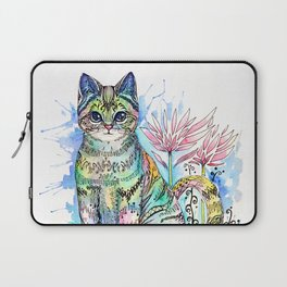 Rainbow Cat with water lily Laptop Sleeve