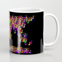 music notes Mugs featuring World Map Music Notes by mailboxdisco