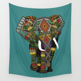 floral elephant teal Wall Tapestry