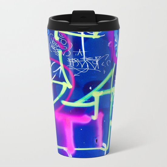 Blue Mood with Pink Language Metal Travel Mug