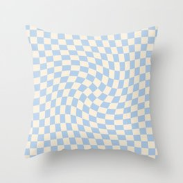 Check II - Baby Blue Twist — Checkerboard Print Throw Pillow