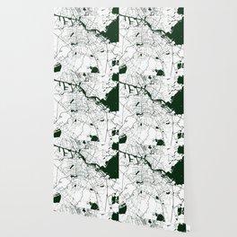 Amsterdam White on Green Street Map Wallpaper
