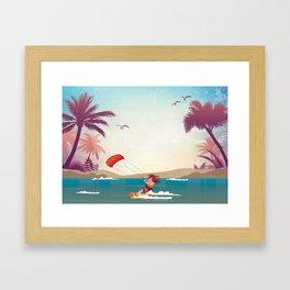 Kite surfer Woman Theme Framed Art Print