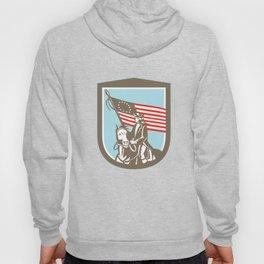 American Revoluntionary Serviceman Horse Flag Retro Hoody