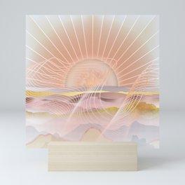 Glittering Sunset Waves Mini Art Print