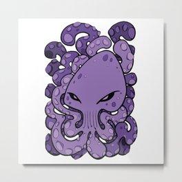 Octopus Squid Kraken Cthulhu Sea Creature - Ultra Violet Metal Print