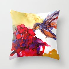 Litte Yummy Hummingbird Throw Pillow