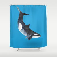 killer whale Shower Curtains featuring Killer Whale by The animals moved to - society6.com/dian
