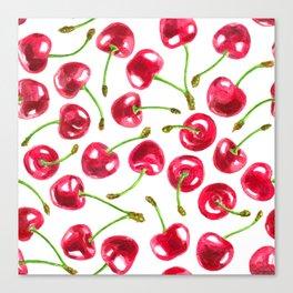 Watercolor cherries pattern Canvas Print