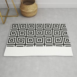 black and white squares pattern Rug