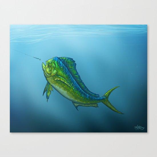 """El Dorado"" by Amber Marine ~ Mahi Mahi / Dolphin Fish Art, (c) 2015 Canvas Print"