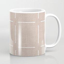 Block Print Simple Squares in Tan Coffee Mug