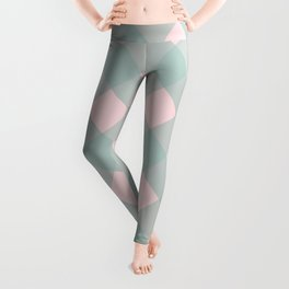 Pink & Mint Checkered Pattern-Mix and Match with Simplicity of Life on #Society6 Leggings