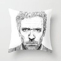 house md Throw Pillows featuring Hugh Laurie, House MD by Milicule