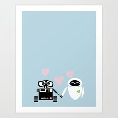 pixar walle and eve love and romance... minimalistic Art Print