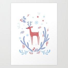 Winter Tale Deer Art Print