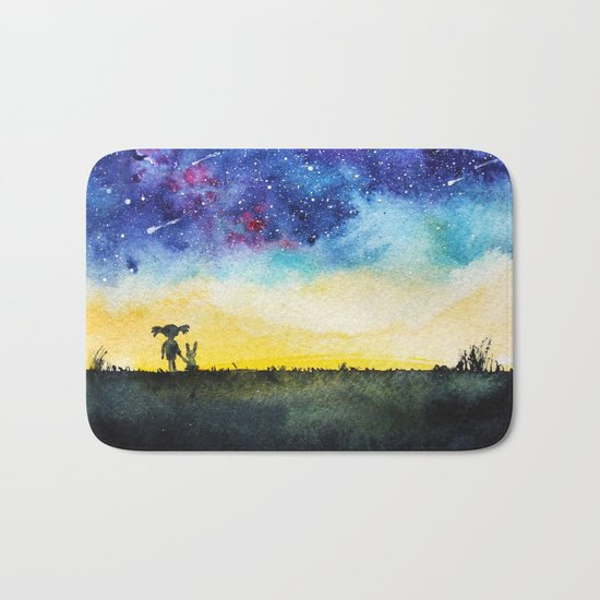 Making wishes on a shooting star Bath Mat