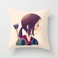 ellie goulding Throw Pillows featuring Ellie by Nan Lawson