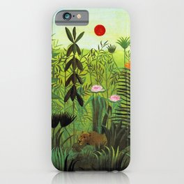 EXOTIC LANDSCAPE WITH LION AND LIONESS IN AFRICA - HENRI ROUSSEAU  iPhone Case