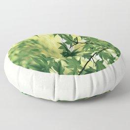 Spring Green Japanese Maple Round Photo Floor Pillow