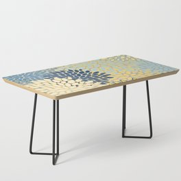Floral Print, Yellow, Gray, Blue, Teal Coffee Table