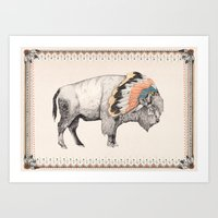 devil Art Prints featuring White Bison by Sandra Dieckmann