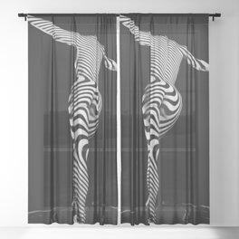 0489s-MM BW Zebra Striped Art Nude Figure Curves Sheer Curtain