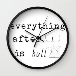 """Everything after """"But""""...Typography Graphic Illustration Mashup Wall Clock"""